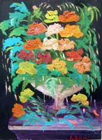 Quadro di  Lepori - Vaso di fiori olio faesite