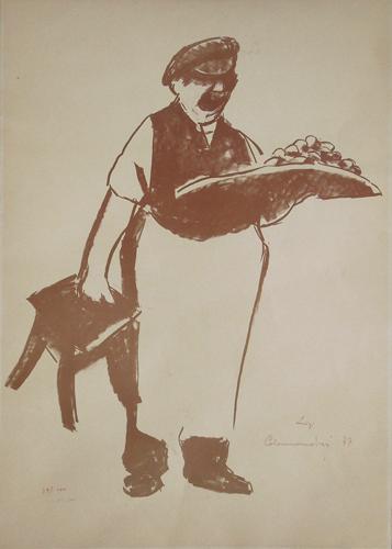 Quadro di Luigi Calamandrei Il Lachera - litografia carta