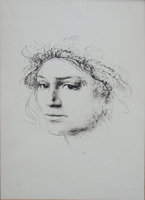 Quadro di Pietro Annigoni - Figura di donna  litografia carta