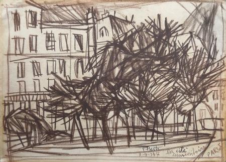 Art work by Vinicio Berti La citè - Paris - charcoal paper