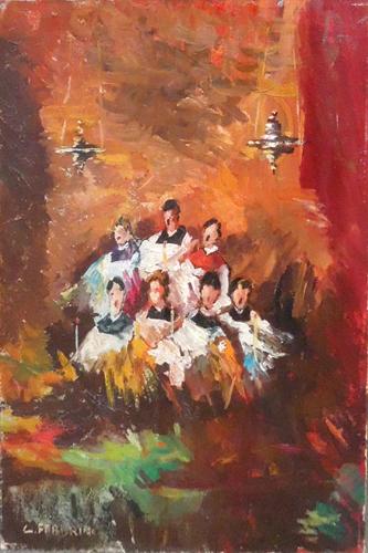 Quadro di Carlo Fabbrini Chierichetti in coro - olio cartone
