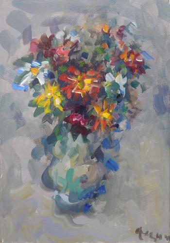 Quadro di Enzo Pregno Composizione di fiori - olio tela