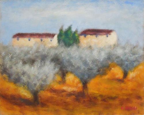 Quadro di  Copie d'Autore Paesaggio (O. Rosai) - olio cartone