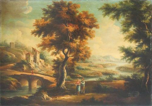 Quadro di  Antiquariato Paesaggio - riproduzione fiamminga  - olio tela