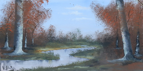 Art work by Valdo Baldi  Paesaggio con fiume in autunno - oil table