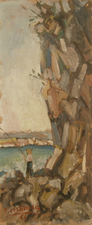 Quadro di Galileo Cattabriga Pescatore - olio tavola
