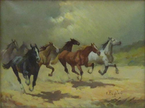 Art work by Inigio Pagliani Cavalli al galoppo - oil canvas