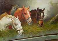 Quadro di Inigio Pagliani  Cavalli alla biada