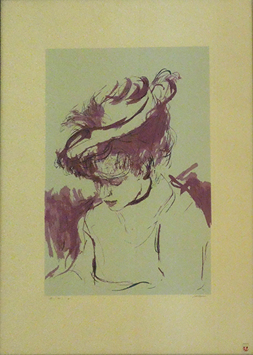 Art work by Michele Salemi Figura con cappello - print paper
