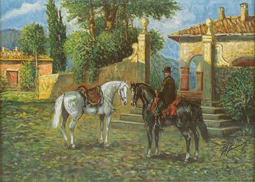 Quadro di Giovan Francesco Gonzaga Mattino in Maremma, l'attesa - litografia carta