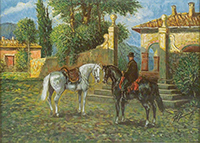 Quadro di Giovan Francesco Gonzaga - Mattino in Maremma, l'attesa litografia carta