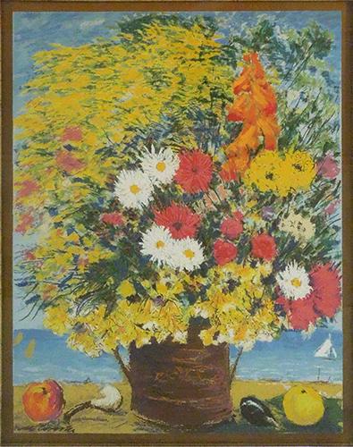 Quadro di Michele Cascella Vaso di fiori - litografia foglia oro