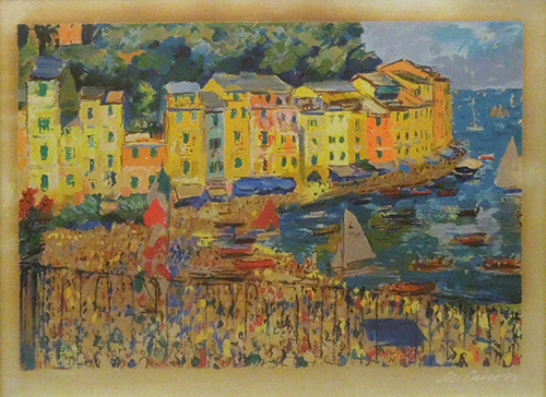 Art work by Michele Cascella Portofino - lithography silver