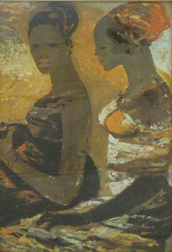 Art work by Salvatore Fiume  Somale sulla spiaggia - print canvas