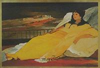 Quadro di Salvatore Fiume  - Modella in posa litografia foglia oro