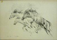 Quadro di Sergio Vellani - Cavalli in corsa litografia carta
