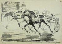 Quadro di Sergio Vellani - Corsa al trotto litografia carta