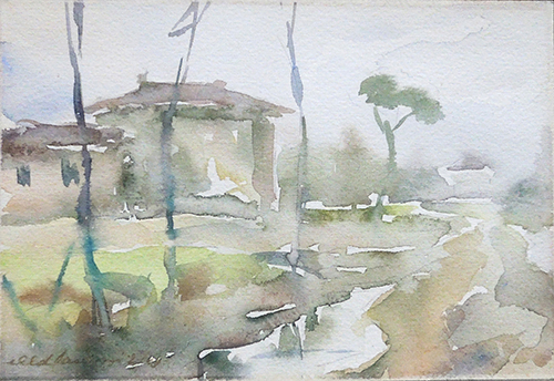 Art work by firma Illeggibile Veduta di campagna - watercolor paper