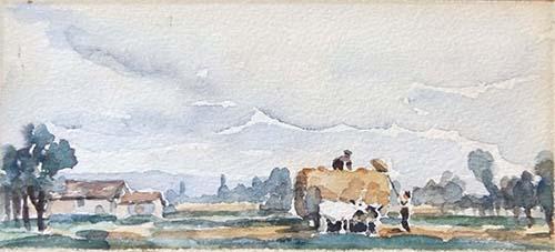 Art work by firma Illeggibile Lavoro nei campi - watercolor paper