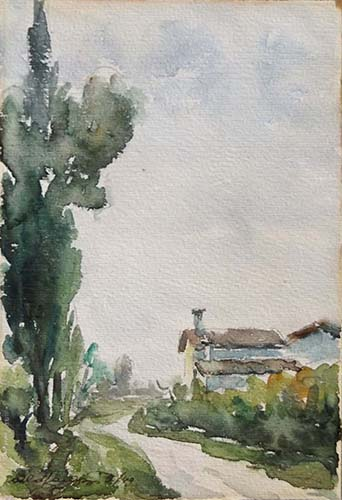 Art work by firma Illeggibile Strada di campagna - watercolor paper