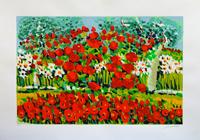 Quadro di Athos Faccincani - Papaveri e margherite fra gli olivi litografia carta