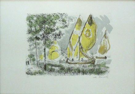 Quadro di Michele Cascella Vele - litografia carta