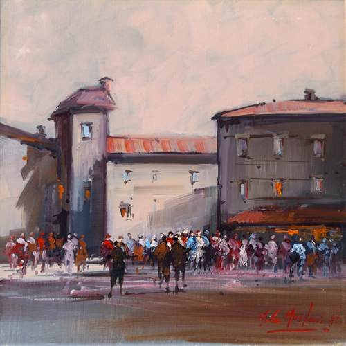 Art work by Norberto Martini Scena di paese - oil canvas