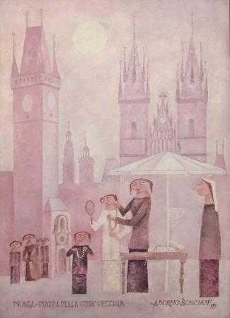 Quadro di Adorno Bonciani Praga Piazza della città vecchia - olio cartone