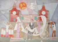 Quadro di Adorno Bonciani - Matrimonio a Montespertoli olio cartone