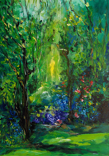 Art work by Mauro Capitani Il giardino di Lucrezia - oil canvas