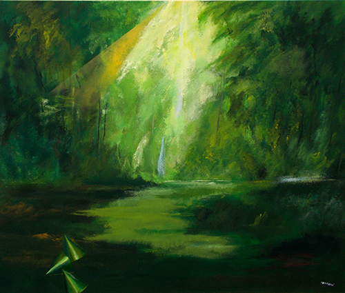 Art work by Mauro Capitani La foresta archeologica  - oil canvas