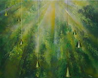 Quadro di Mauro Capitani - La foresta di sir Isac Newton olio tela