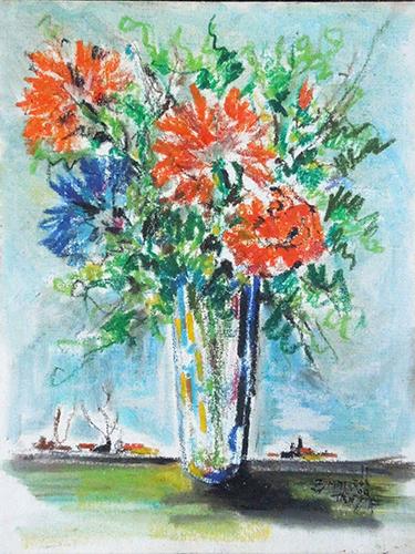 Quadro di  Zimarelli (da Trieste) Vaso di fiori - mista cartone telato