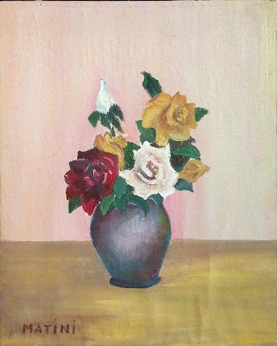 Quadro di  Matini Vaso di fiori - olio cartone telato