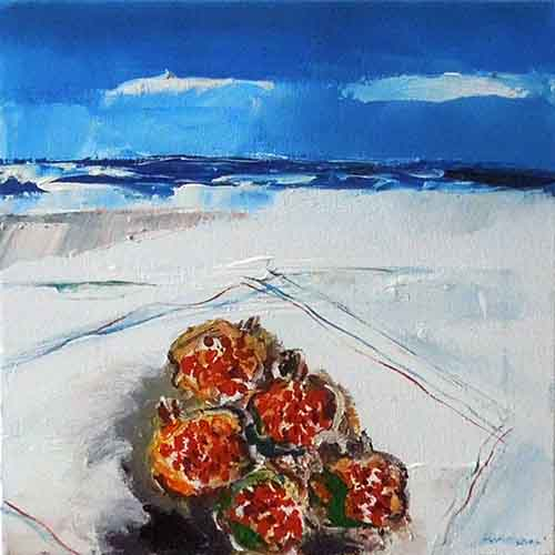 Art work by Mauro Capitani Spiaggia con melograni - oil canvas