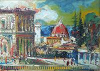Quadro di Emanuele Cappello  Panorama fiorentino visto dal Giardin di Boboli