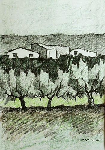 Art work by Alviero Tatini Paesaggio - pastel paper