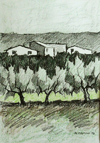 Quadro di Alviero Tatini Paesaggio - pastello carta