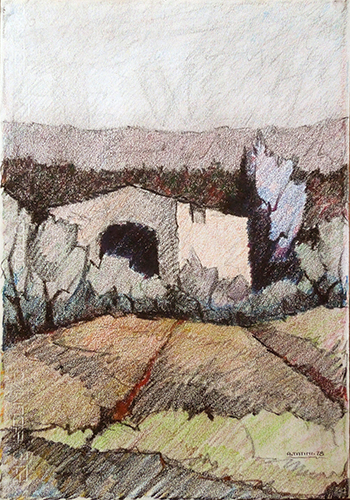Art work by Alviero Tatini Casa colonica - pastel paper