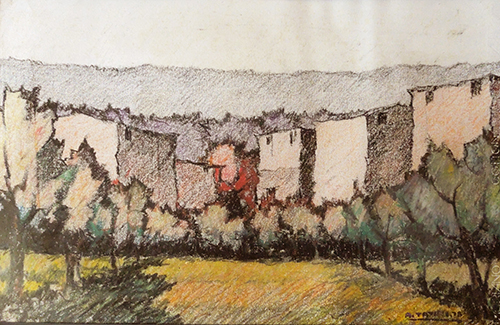Art work by Alviero Tatini Paesaggio toscano - pastel paper