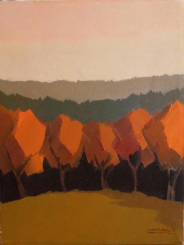 Quadro di Alviero Tatini Paesaggio con alberi rossi - olio tela