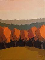 Quadro di Alviero Tatini  Paesaggio con alberi rossi