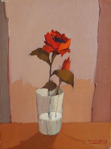 Art work by Alviero Tatini Vaso con rosa - oil canvas