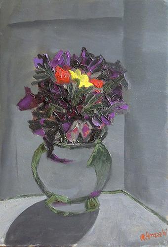 Art work by Renzo Grazzini Vaso di fiori - oil table