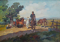Quadro di Claudio da Firenze  Butteri a cavallo