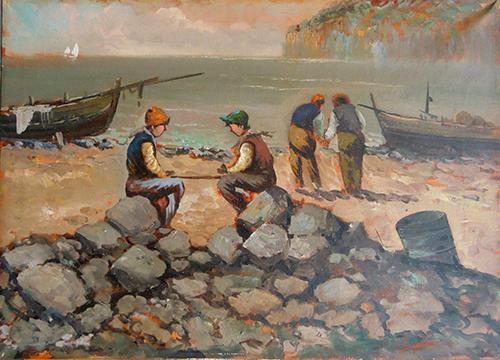 Quadro di S. Giuliani I piccoli pescatori  - olio tela