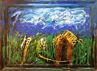 Work of Mario Schifano - Paesaggio Anemico (cornice invasa) oil canvas
