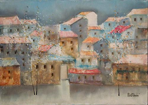 Quadro di Lido Bettarini Primavera con case - olio tela