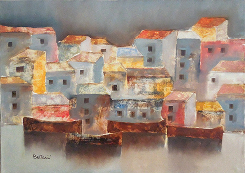 Art work by Lido Bettarini Marina e case  - oil canvas
