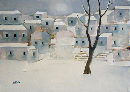 Art work by Lido Bettarini Nevicata con albero - oil canvas
